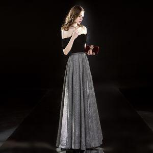 Élégant Noire Robe De Soirée 2019 Princesse Daim De l'épaule Glitter Polyester Manches Courtes Dos Nu Longue Robe De Ceremonie