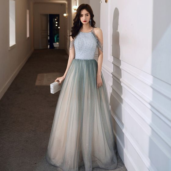 Charming Jade Green Gradient-Color Evening Dresses  2020 A-Line / Princess Scoop Neck Sleeveless Beading Glitter Tulle Floor-Length / Long Ruffle Backless Formal Dresses