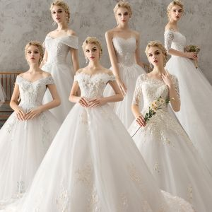 Affordable Ivory Wedding Dresses 2018 Ball Gown Lace Flower Pearl Rhinestone Sequins Backless Chapel Train
