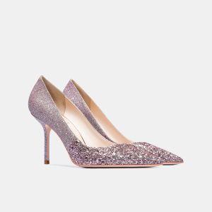 Glitter Blozen Roze Huwelijk Pailletten Bruidsschoenen 2021 Leer 8 cm Naaldhakken / Stiletto Spitse Neus Pumps