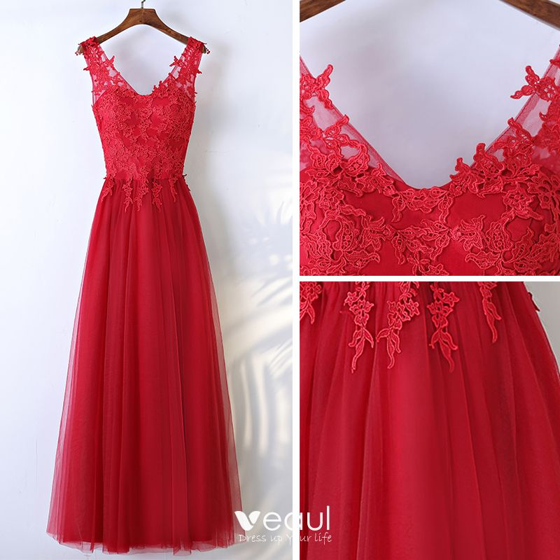 Chic / Beautiful Red Formal Dresses 2017 Lace Flower V-Neck Sleeveless Ankle Length A-Line / Princess Evening Dresses