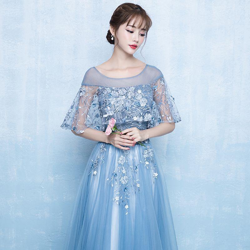 Elegant Pool Blue Prom Dresses 2019 A-Line / Princess Scoop Neck Appliques Lace Flower Pearl 1/2 Sleeves Backless Floor-Length / Long Formal Dresses