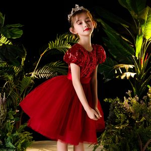 Victorian Style Red Flower Girl Dresses 2020 Ball Gown Scoop Neck Puffy Short Sleeve Sequins Sash Short Ruffle
