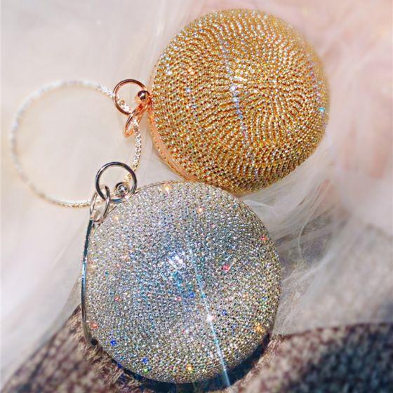 Sparkly Rhinestone Clutch Bags 2020 Metal Accessories