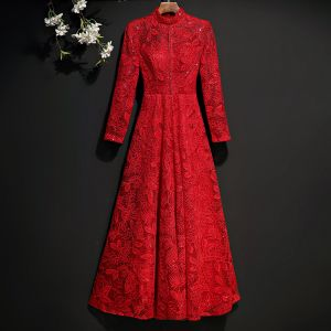 Chic / Beautiful Red Evening Dresses  2017 A-Line / Princess Lace Embroidered Crystal Sequins Scoop Neck Long Sleeve Ankle Length Formal Dresses