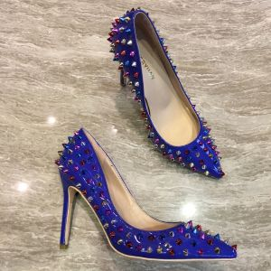 Chic / Beautiful Royal Blue Prom Pumps 2018 Rivet Leather 12 cm Stiletto Heels Pointed Toe Pumps