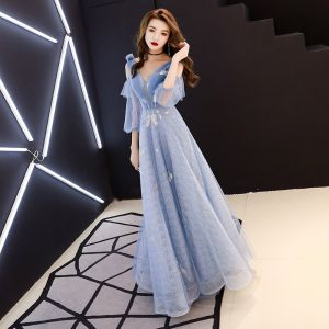Chic / Beautiful Sky Blue Evening Dresses  2019 A-Line / Princess V-Neck Puffy 3/4 Sleeve Beading Glitter Tulle Floor-Length / Long Ruffle Backless Formal Dresses
