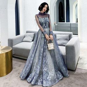 Meilleur Violet Robe De Soirée 2020 Princesse Col Haut Gonflée Manches Longues Glitter Appliques En Dentelle Perlage Longue Volants Dos Nu Robe De Ceremonie