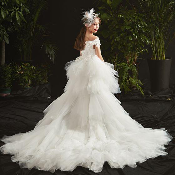 High Low White Birthday Flower Girl Dresses 2020 Ball Gown Off-The-Shoulder Short Sleeve Backless Appliques Flower Beading Asymmetrical Cascading Ruffles