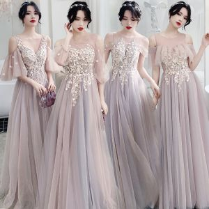Elegant Blushing Pink See-through Bridesmaid Dresses 2020 A-Line / Princess Backless Appliques Lace Floor-Length / Long Ruffle