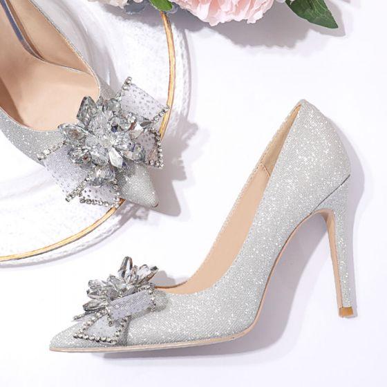 Charmig Silver Glittriga / Glitter Rhinestone Rosett Brudskor 2020 Paljetter 10 cm Stilettklackar Spetsiga Bröllop Pumps