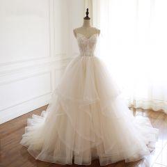 Classy Champagne Wedding Dresses 2019 A-Line / Princess Spaghetti Straps Lace Flower Sleeveless Backless Cascading Ruffles Chapel Train