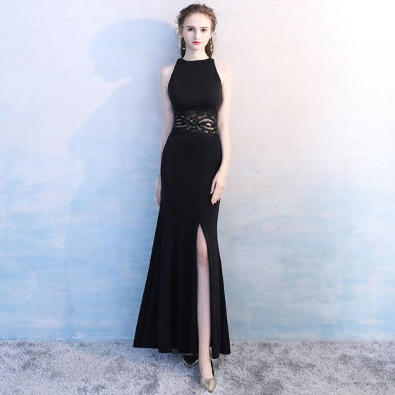 Simple Noire Longue Robe De Soirée 2018 Trompette / Sirène Col Haut En Dentelle Charmeuse Soirée Robe De Ceremonie