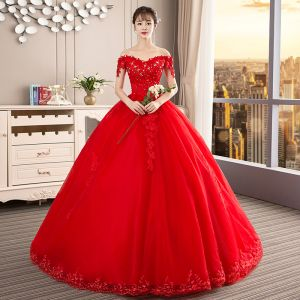 Chic / Beautiful Red Wedding Dresses 2019 Ball Gown Off-The-Shoulder Beading Crystal Sequins Lace Flower Sleeveless Backless Cathedral Train