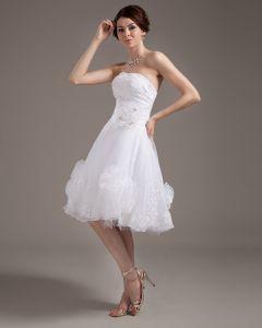 Garn Trägerlose Überlagerte Kurze Hochzeitskleid Brautkleider