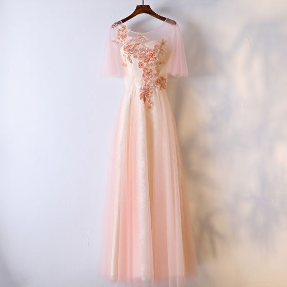 Chic / Beautiful Pearl Pink Formal Dresses Cocktail Dresses 2017 Lace Flower Scoop Neck 1/2 Sleeves Ankle Length Empire