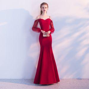 Schöne Rot Abendkleider 2017 Bandeau Chiffon Applikationen Rückenfreies Durchbohrt Mermaid Partykleider