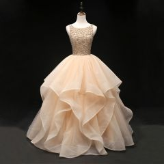 Luxury / Gorgeous Champagne Prom Dresses 2019 Ball Gown Scoop Neck Sleeveless Beading Floor-Length / Long Cascading Ruffles Backless Formal Dresses