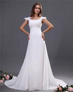 Chiffon Sicke Scoop Gericht Reich Hochzeitskleid Brautkleider