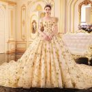 Luxury / Gorgeous Gold Wedding Dresses 2019 A-Line / Princess Off-The-Shoulder Short Sleeve Backless Glitter Sequins Star Cathedral Train Ruffle