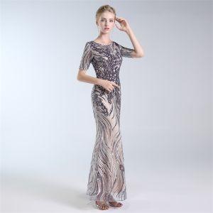 Charming Grey Evening Dresses  2019 A-Line / Princess Scoop Neck Lace Sequins Short Sleeve Floor-Length / Long Formal Dresses