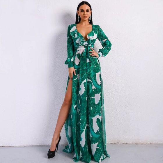 Hermoso Verde Verano Playa Vestidos largos 2020 V-cuello Profundo Hinchado Manga Larga Cinturón Impresión Delante De Split Largos Ropa de mujer
