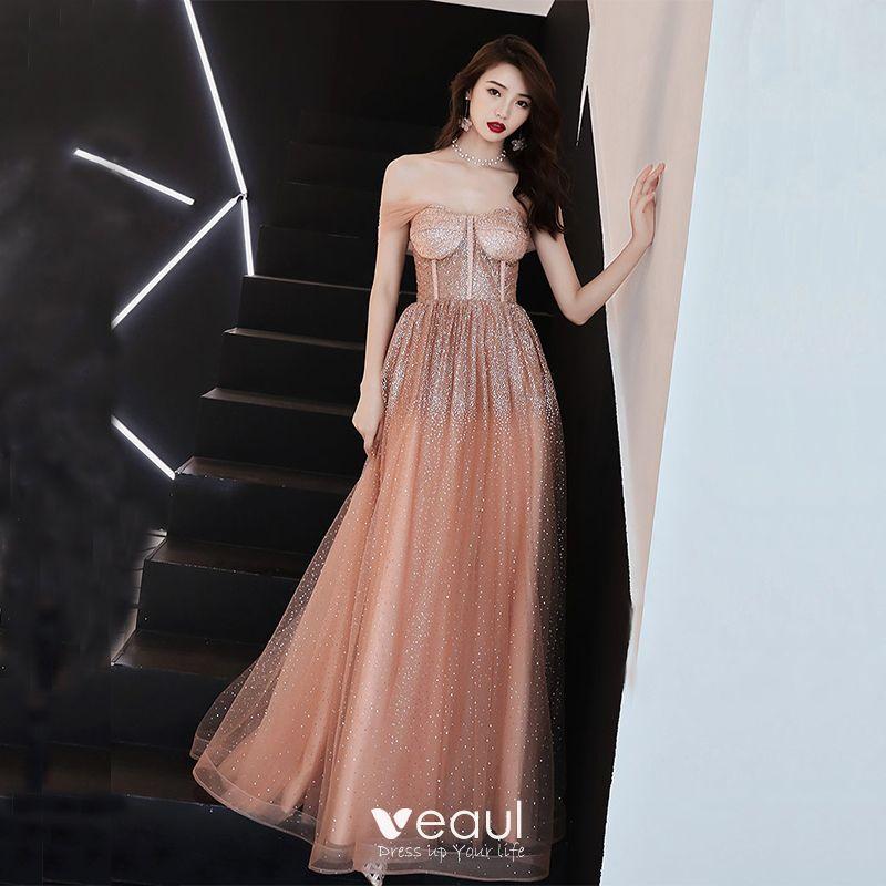 eba52b9eeb9ca Sexy Orange Prom Dresses 2019 A-Line / Princess Off-The-Shoulder ...