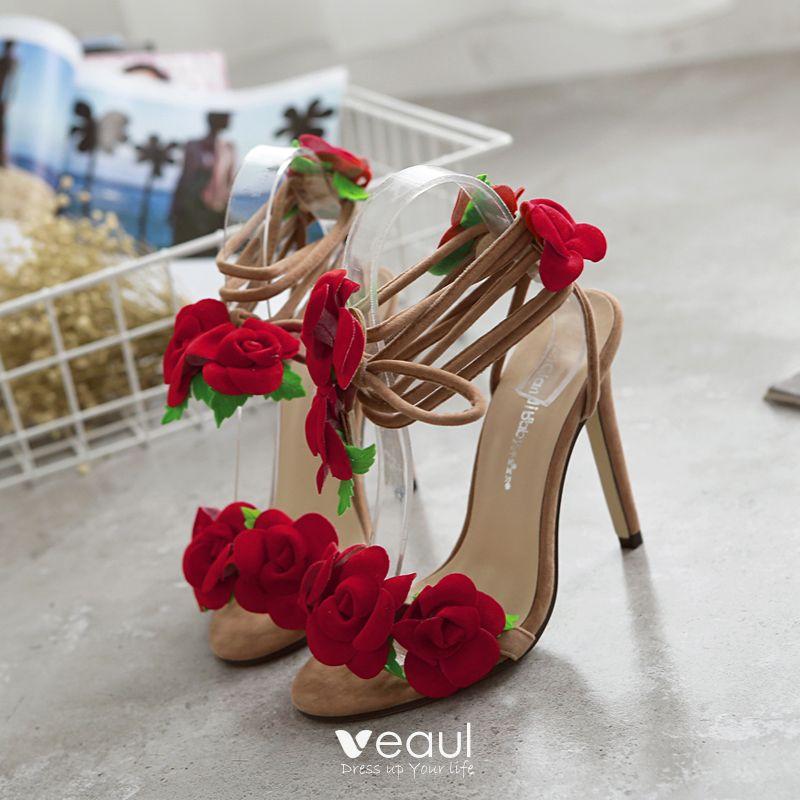 Moda Rojo 2018 High Heels de fiesta Apliques Rebordear 11 cm Sandalias  Stilettos   Tacones De Aguja ... 5de532da7cb8