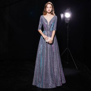 Bling Bling Multi-Colors See-through Evening Dresses  2019 A-Line / Princess Scoop Neck 1/2 Sleeves Glitter Polyester Floor-Length / Long Ruffle Backless Formal Dresses