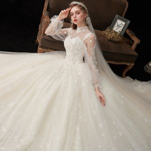 Victorian Style Champagne See-through Bridal Wedding Dresses 2020 Ball Gown High Neck Puffy Long Sleeve Backless Glitter Tulle Appliques Lace Beading Cathedral Train Ruffle