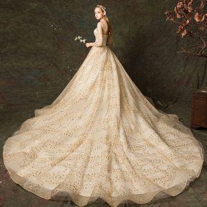 Glitzernden Champagner Brautkleider / Hochzeitskleider 2019 A Linie Eckiger Ausschnitt Glanz Stickerei 3/4 Ärmel Rückenfreies Königliche Schleppe