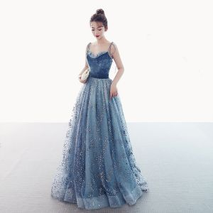Luxury / Gorgeous Ocean Blue Suede Prom Dresses 2019 A-Line / Princess Spaghetti Straps Sleeveless Glitter Tulle Floor-Length / Long Ruffle Backless Formal Dresses