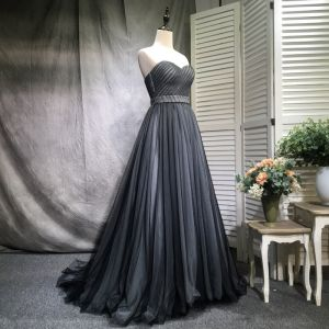 Chic / Belle Noire Robe De Bal 2018 Princesse Plissée Perle Ceinture Amoureux Dos Nu Train De Balayage Sans Manches Robe De Ceremonie