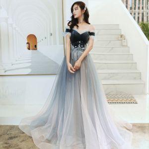Charming Navy Blue Evening Dresses  2020 A-Line / Princess Suede Off-The-Shoulder Beading Sequins Lace Flower Short Sleeve Backless Floor-Length / Long Formal Dresses