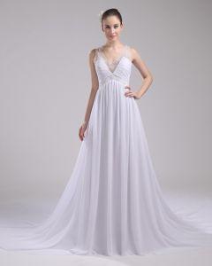 V Hals Golv Langd Veckade Beading Chiffong Imitation Silk Kvinna En Linje Brudklänningar Bröllopsklänningar