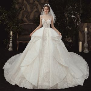 Luxury / Gorgeous Champagne See-through Wedding Dresses 2020 Ball Gown High Neck Sleeveless Backless Appliques Lace Beading Royal Train Ruffle