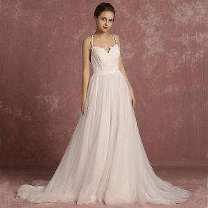 Modern / Fashion Ivory Beach Wedding Dresses 2018 A-Line / Princess Spaghetti Straps Sleeveless Backless Sweep Train