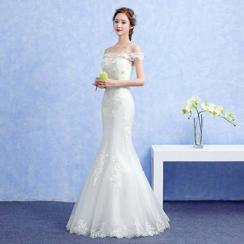 Affordable Hall Wedding Dresses 2017 White Trumpet / Mermaid Floor-Length / Long Off-The-Shoulder Short Sleeve Backless Pearl Flower Lace Appliques Beading