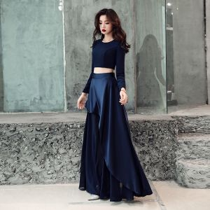 2 Piece Navy Blue Evening Dresses  2019 A-Line / Princess Scoop Neck Long Sleeve Floor-Length / Long Ruffle Formal Dresses