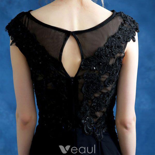 Beautiful Long Lace Evening Dress Black Formal Dress Sleeveless