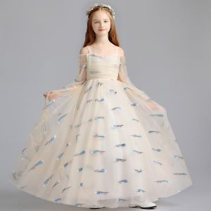 Lovely Champagne Flower Girl Dresses 2019 A-Line / Princess Off-The-Shoulder Shoulders 3/4 Sleeve Embroidered Floor-Length / Long Ruffle Wedding Party Dresses