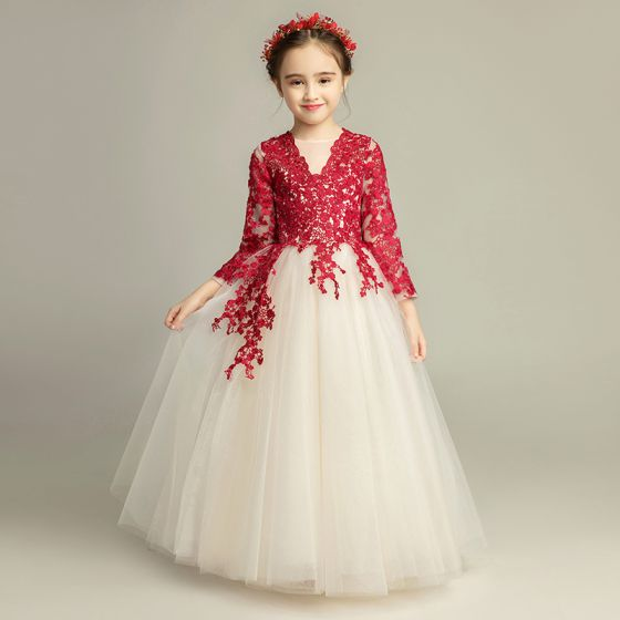 3cbd987fb50 Elegant Champagne Flower Girl Dresses 2019 A-Line   Princess Scoop Neck 3 4 Sleeve  Burgundy Appliques ...
