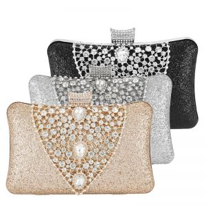 Chic / Beautiful Rhinestone Square Glitter Clutch Bags 2020