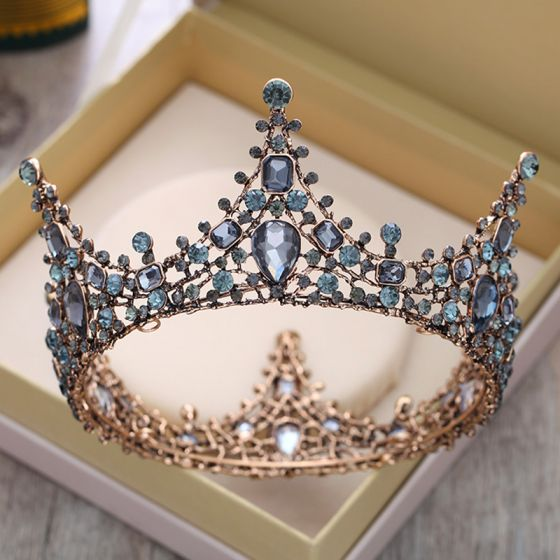Vintage / Retro Baroque Black Gold Tiara 2018 Metal Rhinestone Accessories