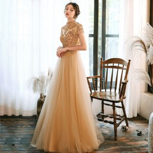Vintage / Retro Gold Evening Dresses  2020 A-Line / Princess High Neck Short Sleeve Beading Floor-Length / Long Ruffle Backless Formal Dresses