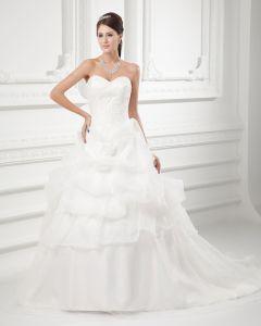 Organza Aplikacja Linke Wzburzyc Kochanie Sad Pociag Warstwowych Suknia Balowa Suknie Ślubne Suknia Ślubna