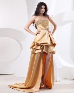 Beautiful Ball Gown Satin Beading Ruffle Strapless Floor Length Women's Prom Dresses