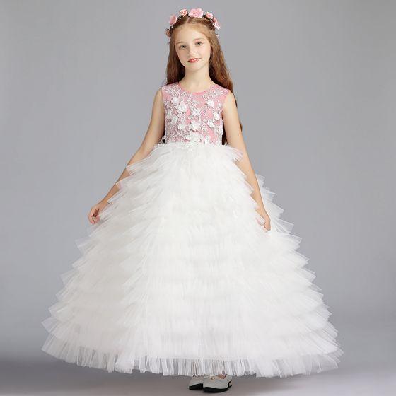 e276023e1 Chic / Beautiful Ivory Flower Girl Dresses 2019 Ball Gown Scoop Neck  Sleeveless Appliques Flower Beading Floor-Length / Long Cascading Ruffles Wedding  Party ...