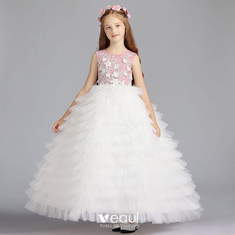 Chic Beautiful Ivory Flower Dresses 2019 Ball Gown Scoop Neck Sleeveless Liques Beading Floor Length Long Cascading Ruffles Wedding