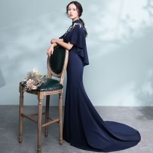 Elegant Navy Blue Evening Dresses  2018 Trumpet / Mermaid Lace Flower Pierced High Neck Short Sleeve Court Train Formal Dresses